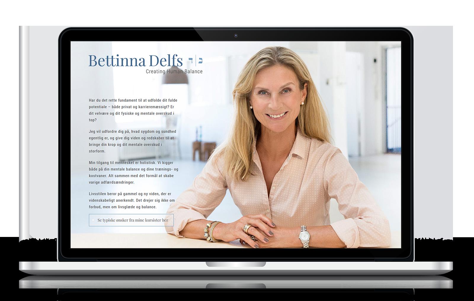 Bettinna Delfs ønskede en meget enkel hjemmeside i havets blå farver