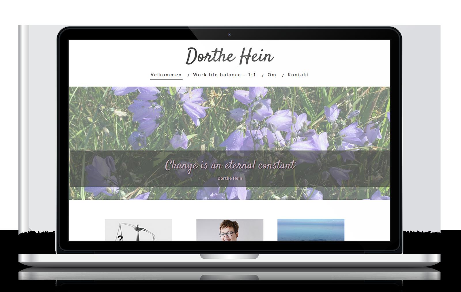 Feminin hjemmeside i bløde farver til DortheHein.dk