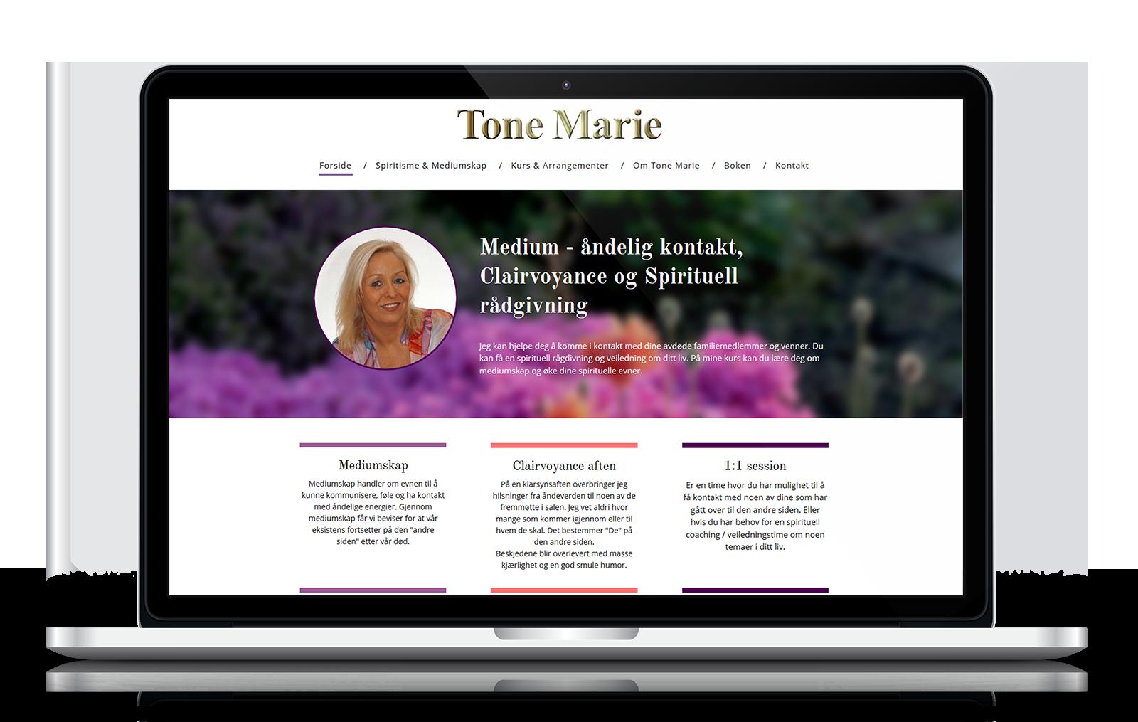 Webdesignet for ToneMaries hjemmeside tog udgangspunkt et smukt blomsterbillede